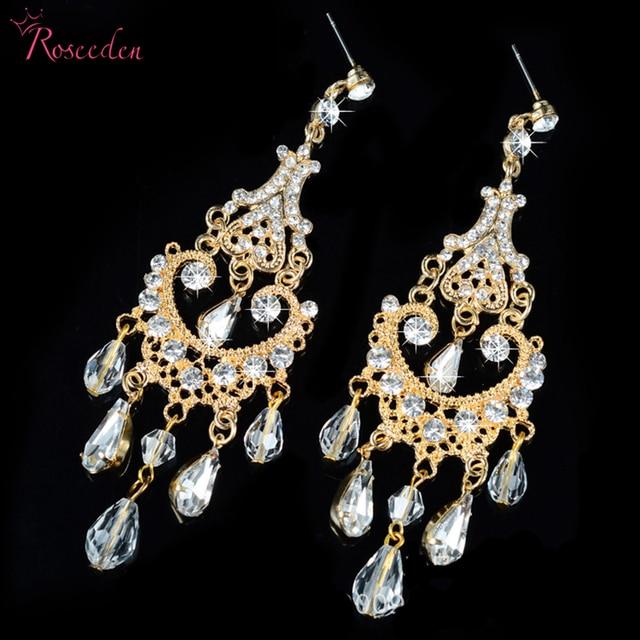 New Design Long Bridal Earring Golden Women Fashion Chandelier Earrings Dress Decoration Free Re434