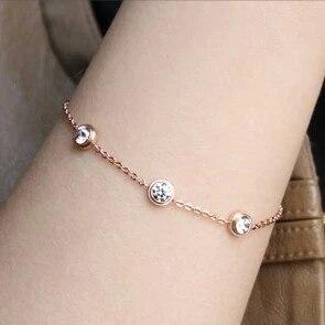 YUN RUO Three Zircon Crystals Bracelet Fashion Fine Jewelry Titanium Steel Rose Gold Color Valentine Gift