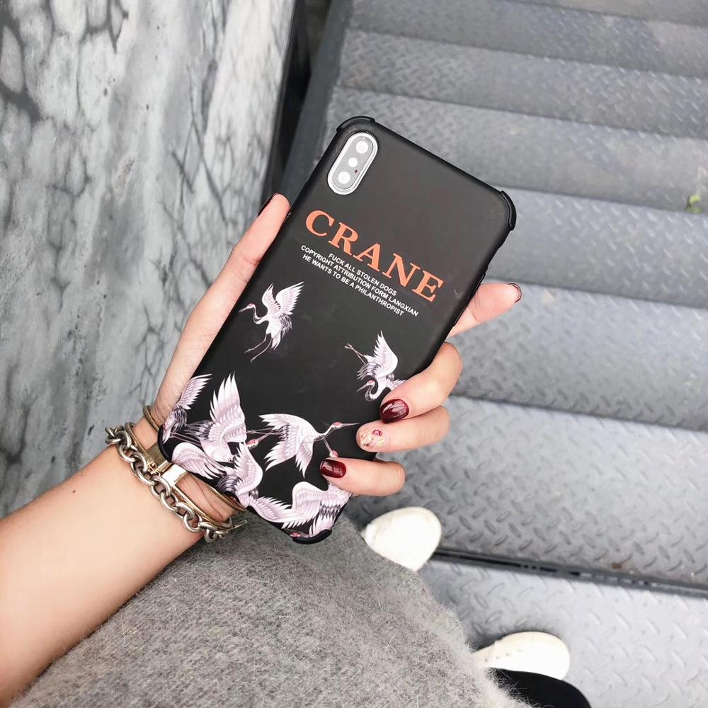 Minimum mobile phone case For iphone 6s 6 7 8 Plus Luxury Fashion Brand iphone X XS XR XsMax case Crane Pattern back IMD cover in Fitted Cases from Cellphones Telecommunications