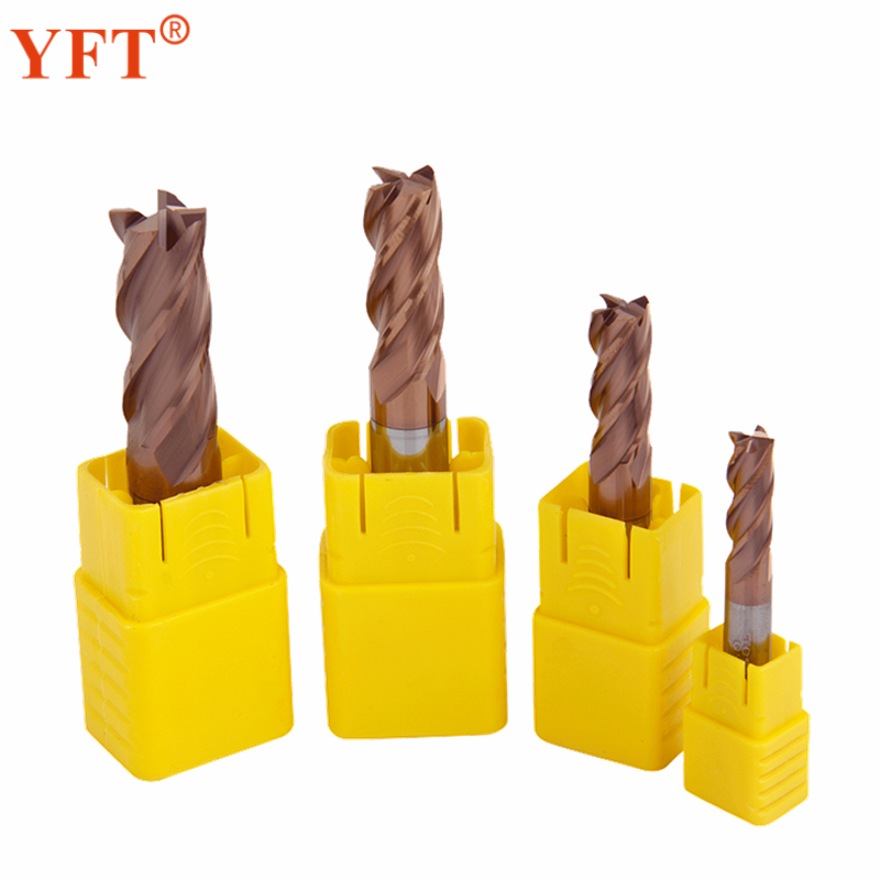 YFT 4pcs/set 6/8/10/12mm Carbide Milling Cutter Router Bit 4-Blade Metal Cutter Tungsten Steel HRC55 CNC Tools yft carbide end mills diameter 20mm 4 blade tungsten steel router milling cutter hrc 45 cnc tools page 8