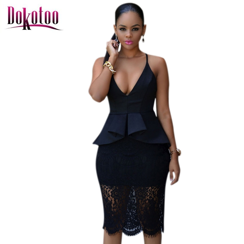 Buy Cheap Dokotoo Black Crossover Straps Floral Lace Overlay Peplum Dress LC60542 2017 sexy women summer party club dress vestido de festa