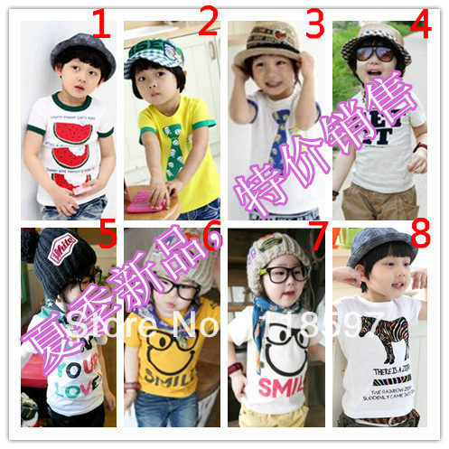 2013 ploughboys summer children's clothing male child thin pullover o-neck print short-sleeve T-shirt, 8 color children t shirt