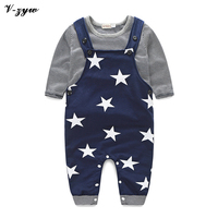 2017 New Spring Cotton Baby Boy Girls Clothes Set Straps Suit Stars Baby Clothing 2pc Set