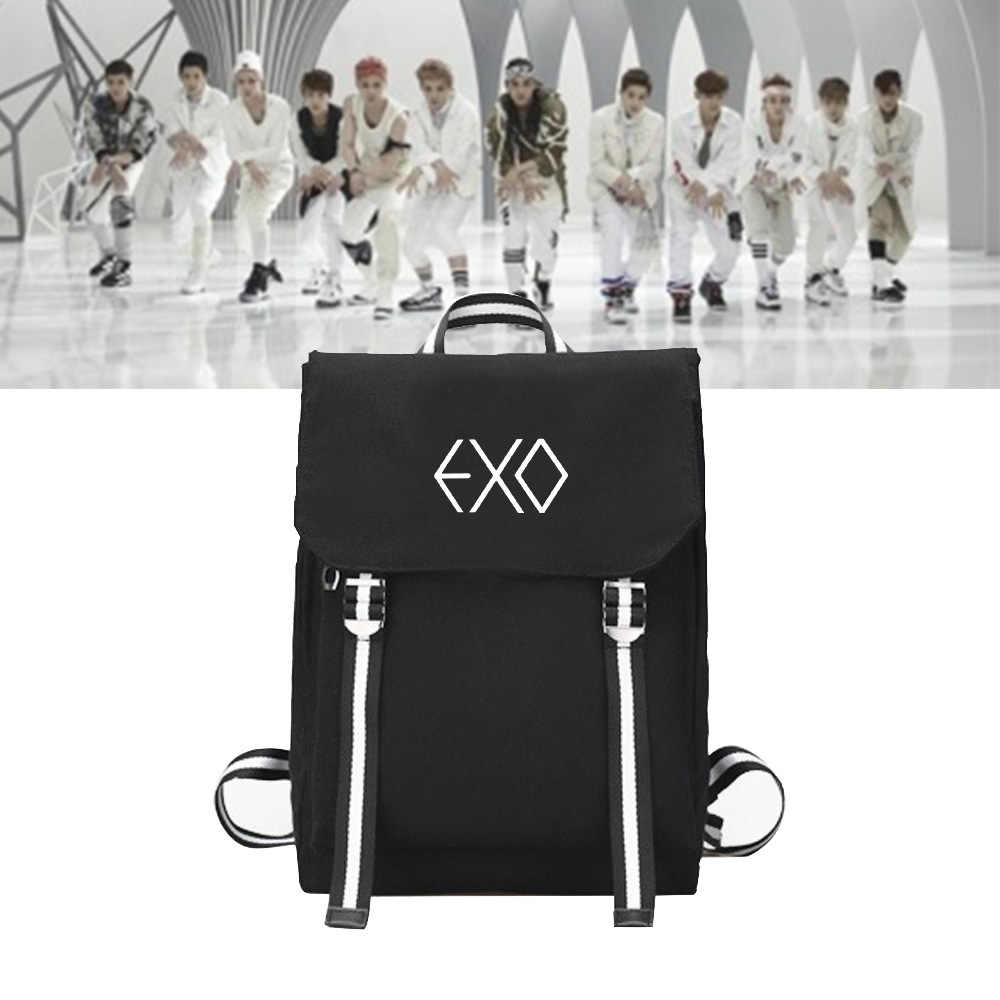 New Korean Fashion Kpop Bags EXO Backpacks for Teenage Girls Harajuku Canvas Travel Backpack Woman Back Pack Sac A Dos Femme