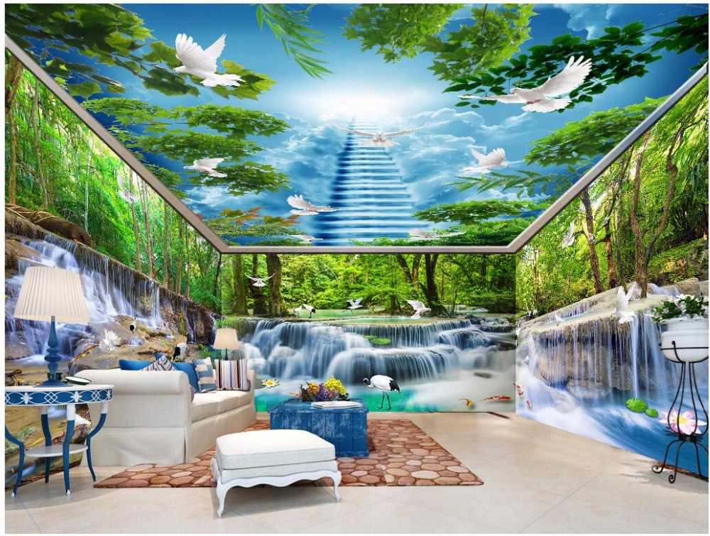 custom mural photo 3d wallpaper Waterfalls Water Forest Crane White Pigeon House Walls 3d wall murals wallpaper for wall 3 d custom photo 3d wall murals wallpaper mountain waterfalls water decor painting picture wallpapers for walls 3 d living room