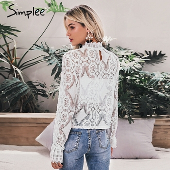Simplee Elegant white lace blouse shirt Sexy hollow out embroidery feminine blouse Women long lantern sleeve summer tops female 4