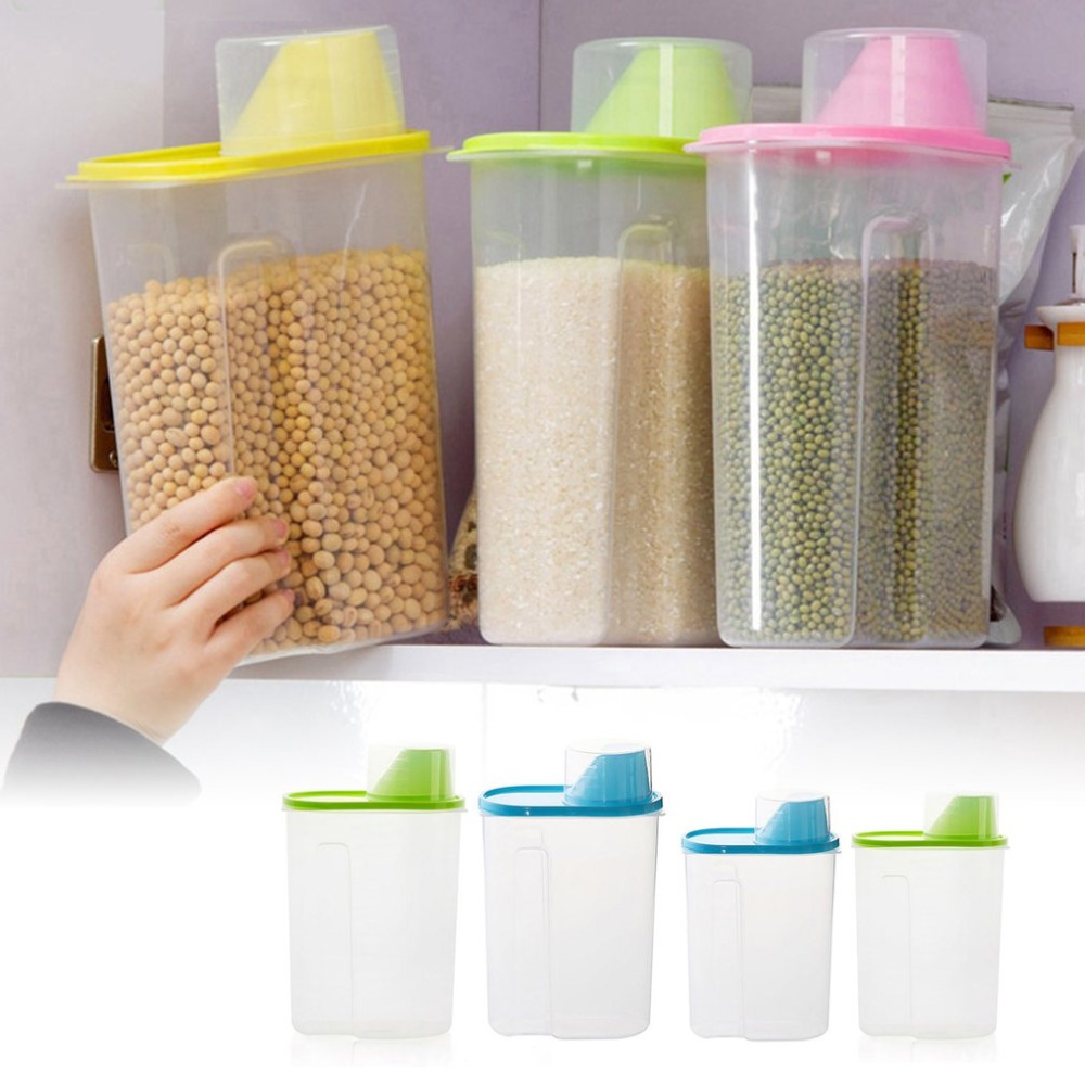 Food Storage Bottles Safety Plastic Jar Sealed Cans with Cover Large Capacity Case Tampion Cereals Bottle Tea Box Food Cans