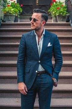 Azul personalizado traje de lino de los hombres casuales de verano playa  boda trajes para hombres 2 piezas fiesta hombre Chaqueta Hombre traje de  Traje ... db419b9c67b