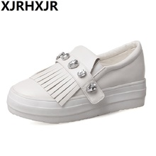 Single Shoes female flat bottom big size shoes 40-43 small white shoes casual  shoes Women Platform Loafers стоимость