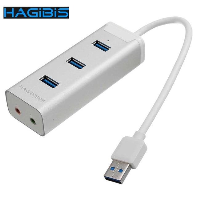 Hagibis 2 em 1 de alta velocidade Universal 3 portos USB 3.0 Hub 3.5 mm placa de som externa áudio microfone Headset conversor de porta