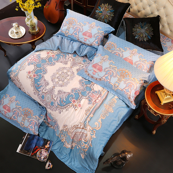 Luxury Blue Bohemia Style Printing 60S Egyptian cotton Bedding Set Duvet Cover Bed Linen Bed sheet Pillowcases Queen King 4pcs