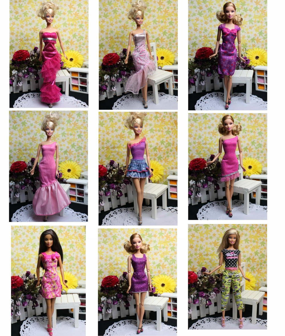 30items=10pcs dress+10pair shoes+10pcs accessories free shipping Doll's evening Dress Clothes Gown For Barbie doll