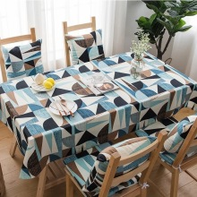 Modern Tablecloths Abstract Thicken Simple Blue Geometric Table Cloth Home Decorative Nordic 100% Cotton Dustproof Cover