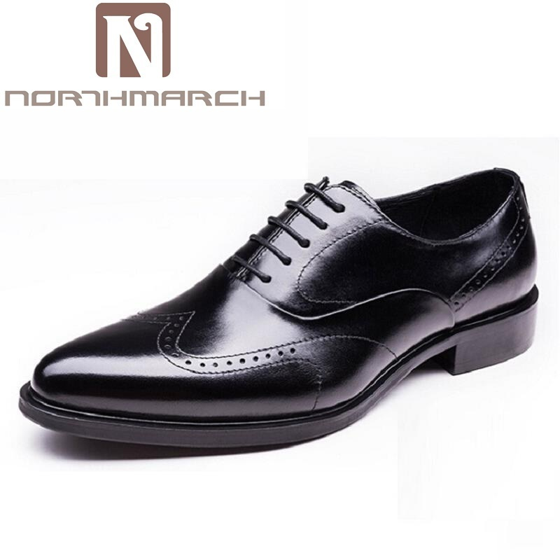 NORTHMARCH Brand Designer Men Oxfords Shoes Genuine Leather Carved Classic Mens Formal Shoes Pointed Toe Lace Up Shoes Men qffaz new fashion mens formal dress shoes pointed toe genuine leather bullock oxfords shoes lace up designer luxury men shoes