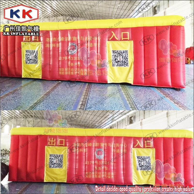 KK Manufacturer Fire control escape inflatable fire fighting drill tent for school