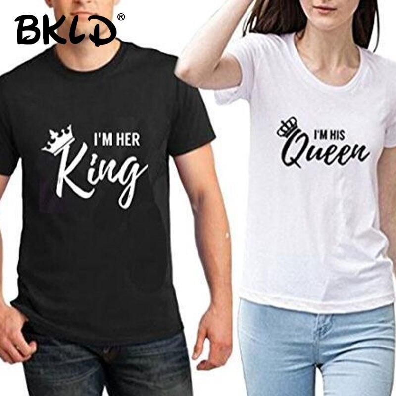BKLD Men Women T Shirt King Queen Crown Printed Couple Clothes lovers Tee Shirt Femme Summer T-shirt 2018 Casual O-neck Tops