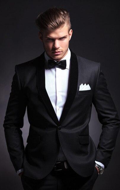 Men's Customized Groom Wedding Party Wear Tuxedos One Button 2 Pieces (Jacket+Pants) WB035 Shawl Lapel Black Coat Pant Men Suit