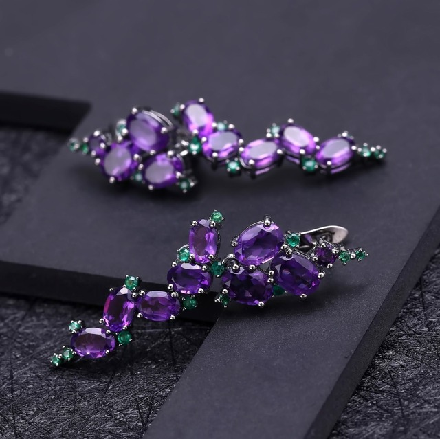 GEM'S BALLET 925 Sterling Sliver 9.78Ct Natural Amethyst Gemstone Clip Earrings Vintage Gothic Punk Earrings For Women Party