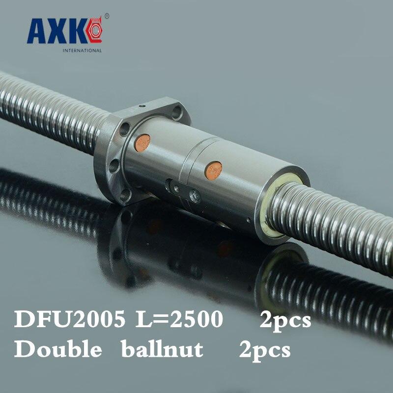 2018 Limited Rushed Steel Thrust Bearing 2pcs Cnc Rolled Ballscrew 2005 -l 2500mm Dfu2005 Ball Screw With Double Ballnut 2pcs ballscrew sfu3205 2500mm rm3205 rolled ball screw 2pcs ballnut