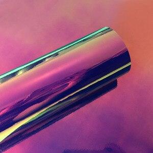 Image 4 - Pegatinas holográficas de cromo para coche, revestimiento de cuerpo de coche, película de vinilo, bricolaje, decoración de automóviles, color arcoíris, 10cm x 100cm