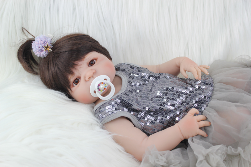 Full Silicone Body Reborn Baby Doll Toys Realistic 22 inch  Newborn Girl Babies Dolls For Kid Fashion Birthday Present Bathe Toy 22 inch silicone dolls reborn boy 55cm full body realistic reborn baby doll bathed doll toy in soft blue clothes birthday gifts