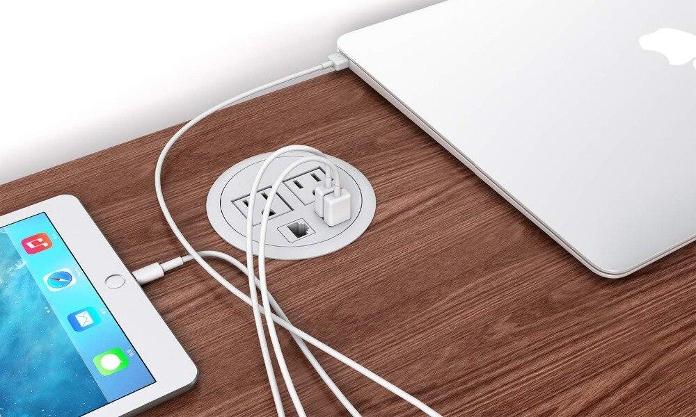 Le pouvoir Œillet 2 Sortie 2 USB 1 RJ45 Ports pour la Gestion Des Câbles Fente/Bureau/Table de Conférence blanc et noir couleur