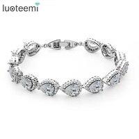 4Colors Drop Shape AAA Cubic Zirconia Womens Bracelet Jewelry Fashion