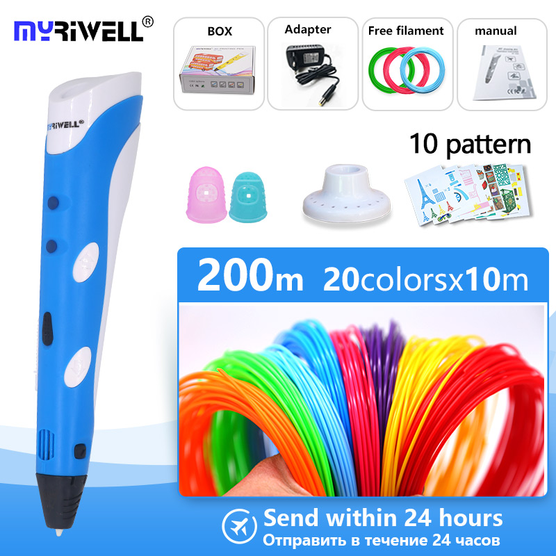 myriwell 3d pen 3d Printer pen 1.75mm ABS/PLA 3d drawing pen + Free Filament +5 template the Best Christmas / birthday gifts(China)