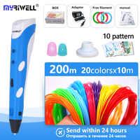 myriwell 3d pen 3d Printer pen 1.75mm ABS/PLA 3d drawing pen + Free Filament +5 template the Best Christmas / birthday gifts