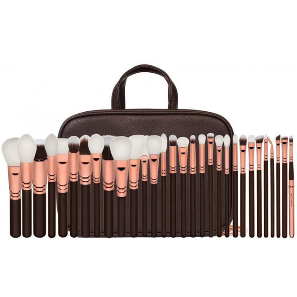 Makeup Complete Professional 25 Black Brushes set 30 Brown Brush Kit Foundation Powder Concealer Eyes shadow Cosmetic Real Wool saiantth makeup tool set kit combination 15 color concealer palette toothbrush makeup brush water drops sponge puff cosmetic