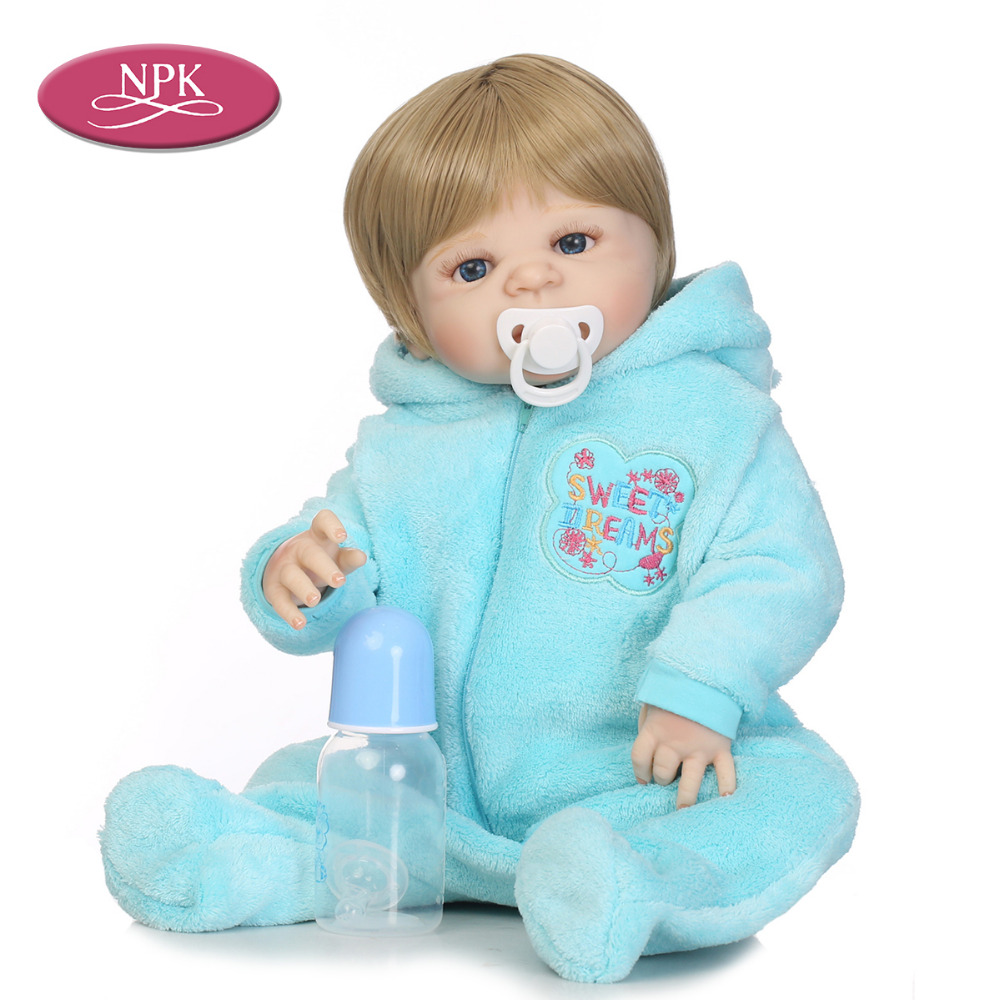 NPK 57CM Lifelike Full Body Silicone Reborn Baby Doll Girls Boys Can Bathe Truly Newborn Babies