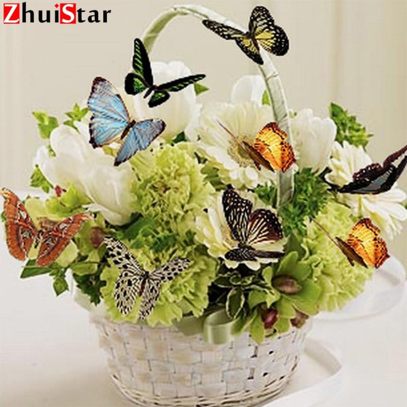 """Zhui Csillag Full Square Diamond 5D DIY gyémánt festés """"virág"""" 3D hímzés keresztszemes mozaik dekoráció BK"""