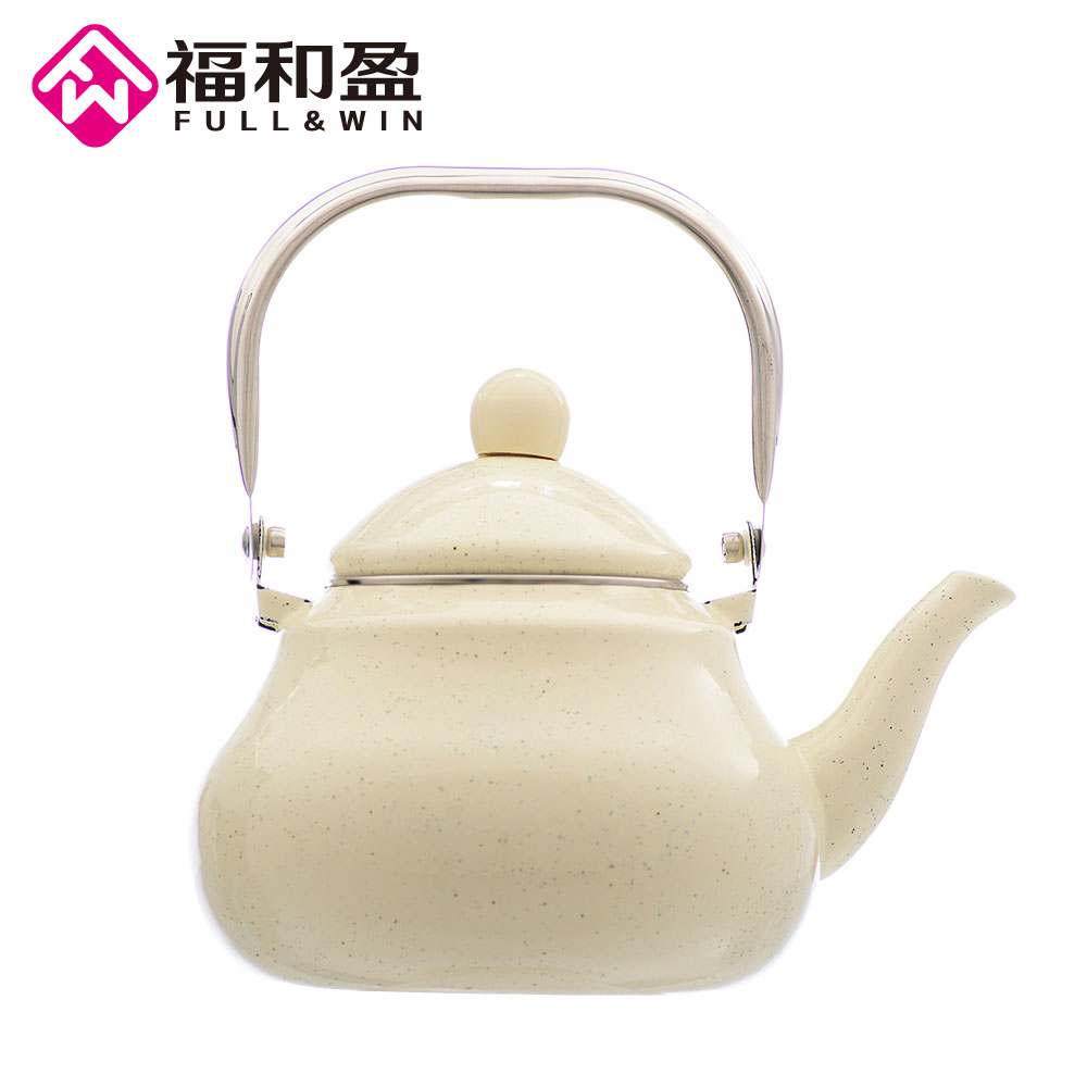 2 5L Ivory tint Enamel Pot Traditional Steel Handle Pear shaped pot Thickened Water Kettle Electromagnetic