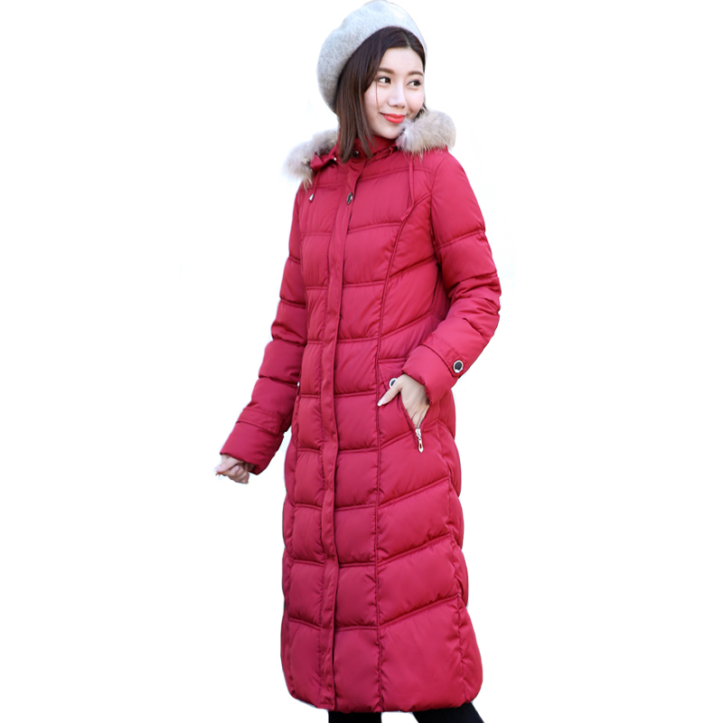 High Quality 2019 Winter Jacket Women Plus Size 4XL 5Xl With Fur Hooded Female Coat Long Warm Cotton Padded Womens   Parka     Parkas