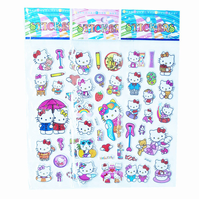 3Pcs / Lot Cartoon TV KT cat Puffy Stickers 3D DIY toys for boys girls birthday gift Cute Puffy Children toys Stickers 6 sheets lot 3d puffy bubble stickers mixed cartoon kawaii stickers toys dress up girl changing clothes kids toys for children