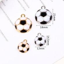Pendant-Braclets Football Enamel Charms Sport Craft Jewelry Finding 12mm DIY 18mm 10pcs/Lot