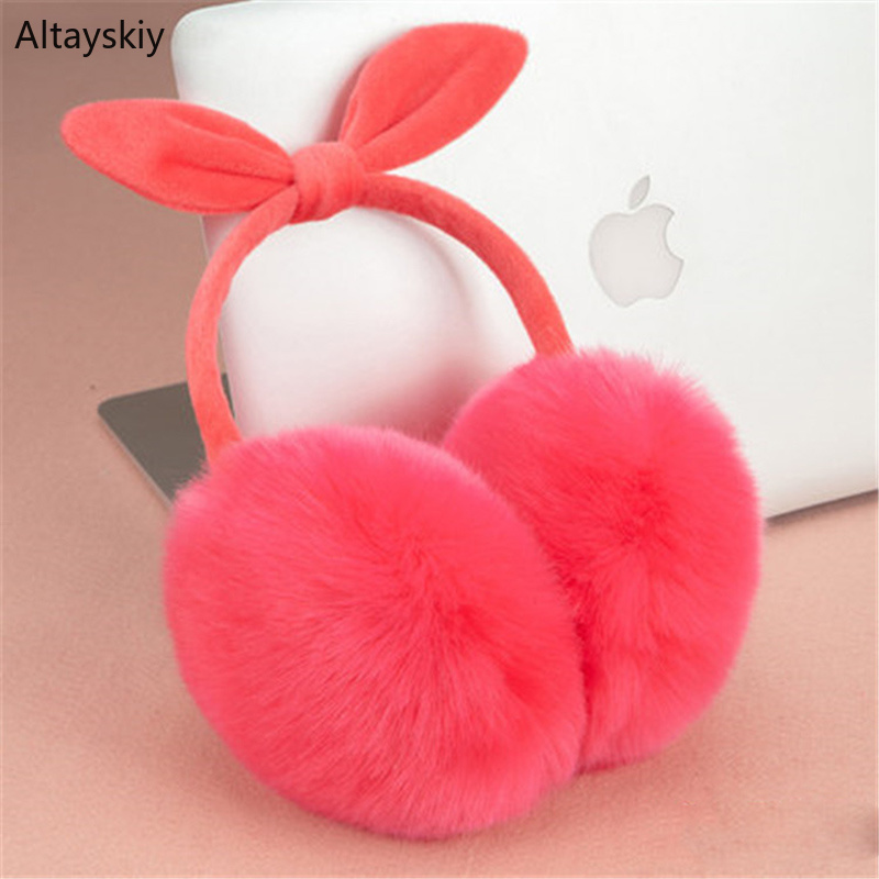 Earmuffs Women Winter Faux Rabbit Fur Antifreeze Trendy Womens Ear Warmers Cotton Plush Bow Korean Style Solid Simple All-match