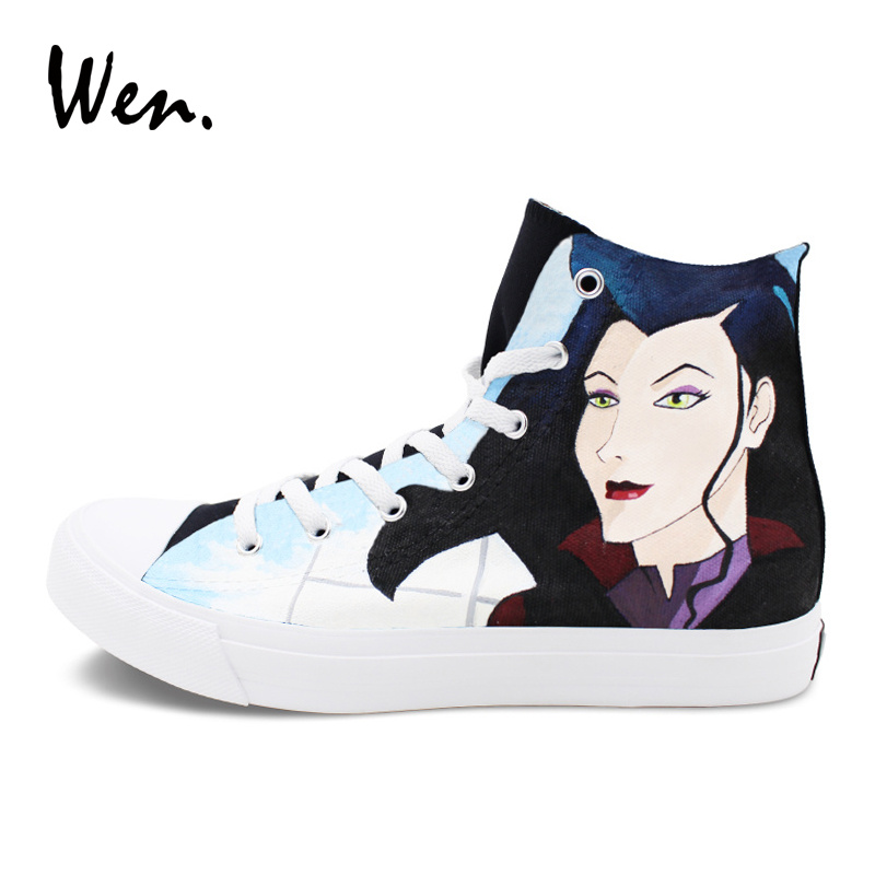 Wen Anime Hand Painted Shoes Men Womens Flat Design Avatar The Last Airbender The Legend of Korra High Top Canvas Sneakers iarts hand painted the owner of the pet shop oil painting red 60 x 40cm
