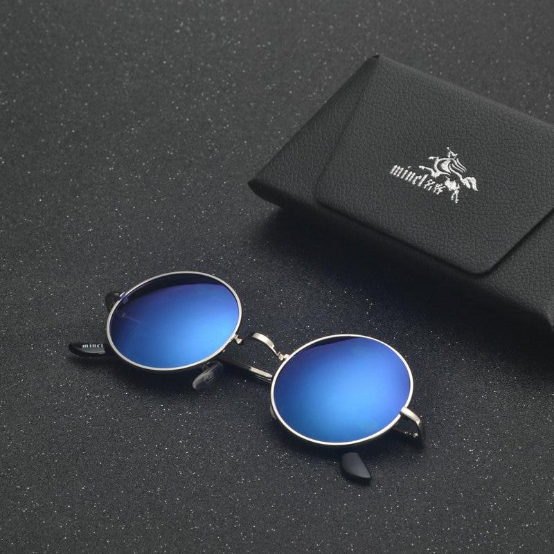MINCL/ punk Polarized Sunglasses Men Women Retro Brand Designer Small Round Alloy Frame Summer Style Unisex Sun Glasses LXL 3