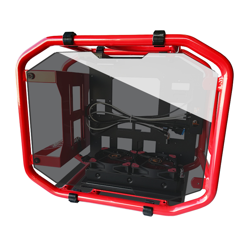 CEMO Aluminum Computer case Skeleton tube frame Tempered glass open Support 120 240 water cooled MicroATX