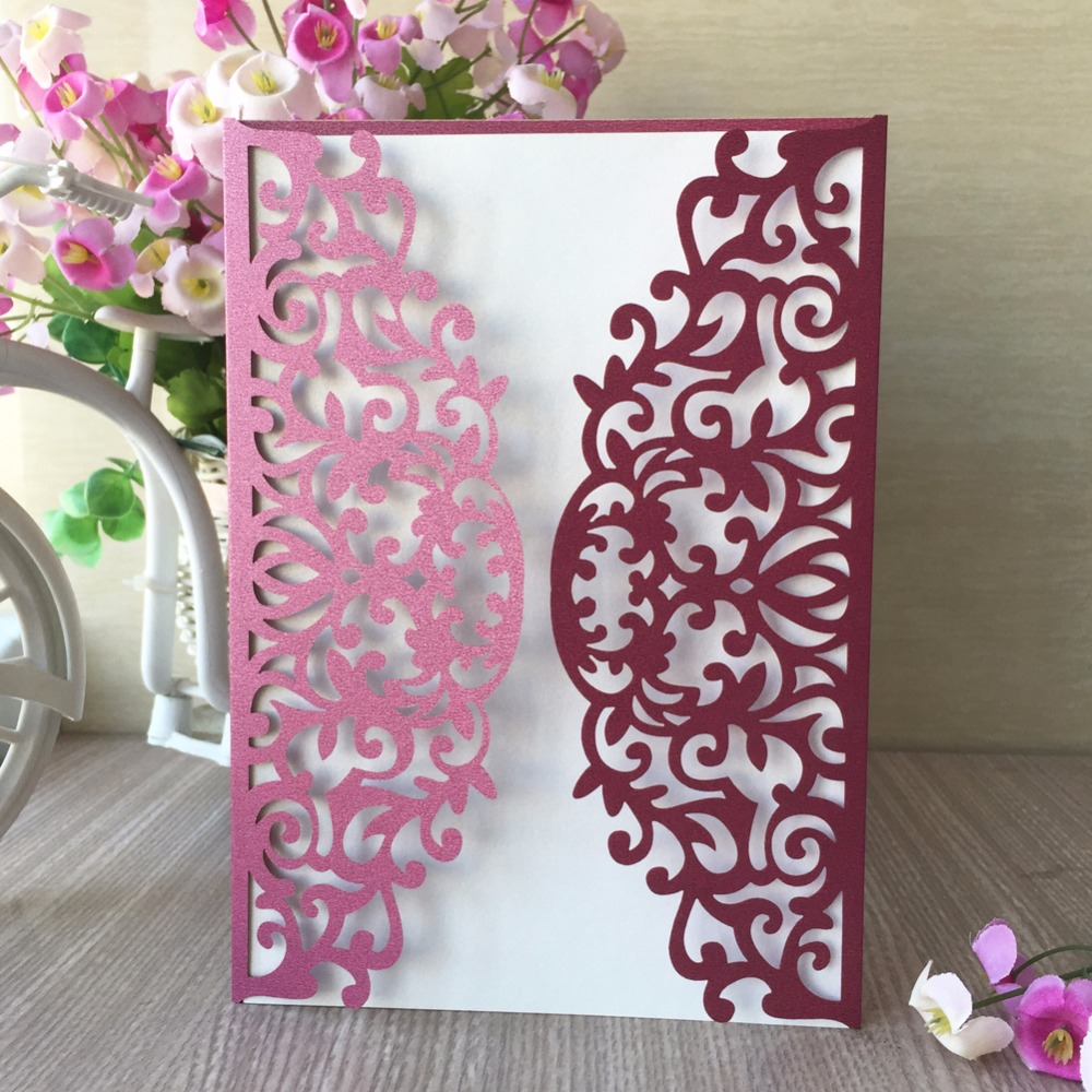 Us 29 68 44 Off 35pcs Laser Cut Pearl Paper Wine Red Color Card Wedding Invitation Card Customized Birthday Party Invitation Card Suppliers In Cards