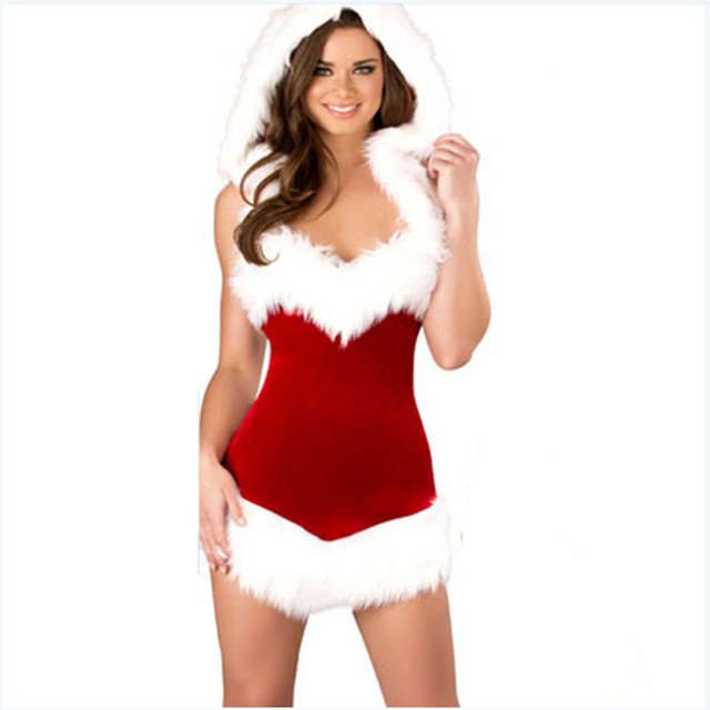 a353869041 placeholder 2018 New Sexy high quality Red dress white flash Velvet Santa  Claus Adult Girls Xmas Party