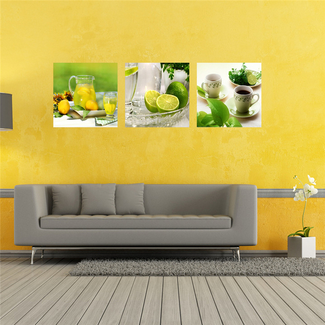 Unframed 3 Panel Modern Printed Fruits Lemon Painting Picture On Canvas Kitchen Cuadros Landscape Living Room