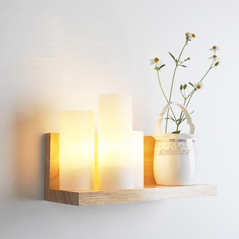 ФОТО New Style Japanese Modern Wood Glass Wall Lamp Fashion Indoor Lighting Bedside Lamps E27 Wall Lights for Home Decoration