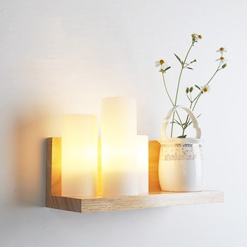 New Style Japanese Modern Wood Glass Wall Lamp Fashion Indoor Lighting Bedside Lamps E27 Wall Lights for Home Decoration