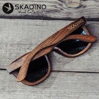 SKADINO Bamboo Full Wood UV400 Polarized Sunglasses Fashion Sun Glasses for Women Men Cool Coated Blue Lens Handmade Brand