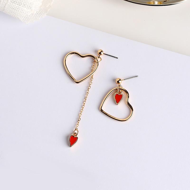 Korean Style Chain Tassel Earrings For Women Cute Hollow Heart Drops Dangle Ear Jewelry Fashion