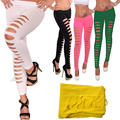 2017 New Sexy Women Solid Hollow Out Leggings High Stretched Trousers  Slim Trousers Pants H9