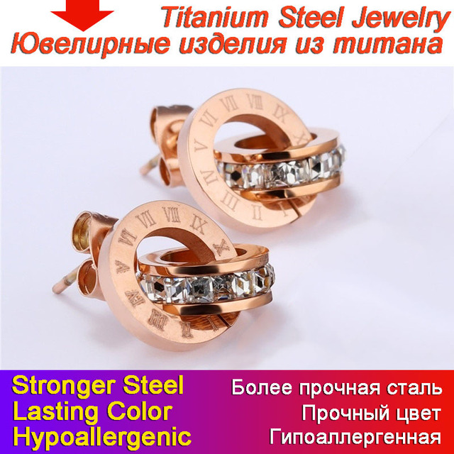 Double Loop Design Hoop Earrings Titanium Steel Rose Gold Non-fading Ear Stud Square CZ Roman Numeral Clock Style