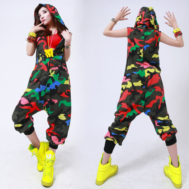 Kids Adult Hip Hop Dance performance Camouflage playsuit loose overalls one  piece Pants harem sleeveless Hooded jumpsuit e84708754ce